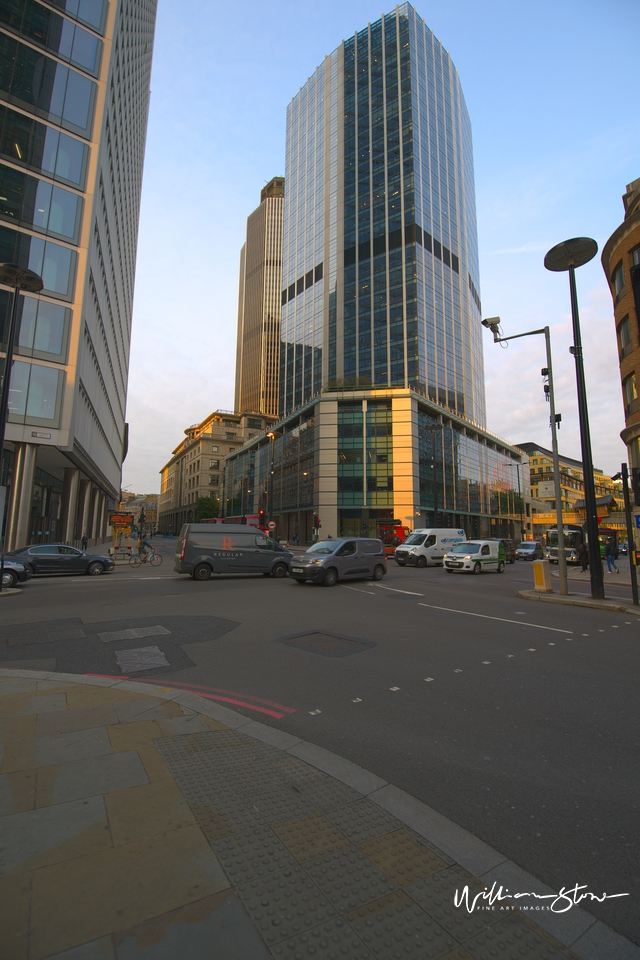 Deserted city Junction in the Financial District of London.