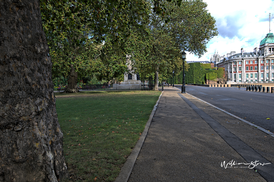 Fine Art, Limited Edition, Lonely Pathway, London, Walk Up, Railings, Alleyway, Passing By, Adjacent Building, Silver, Metallic, Polished, Private Garden, In-Between